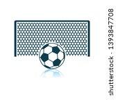soccer gate with ball on... | Shutterstock .eps vector #1393847708