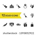 love icons set with open...