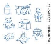 set of baby nursery objects as... | Shutterstock .eps vector #1393897472