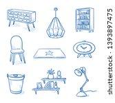 set of interior furniture... | Shutterstock .eps vector #1393897475