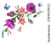 watercolor thistle  poppy  blue ... | Shutterstock . vector #1393919912