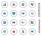hardware icons colored line set ... | Shutterstock .eps vector #1393925378