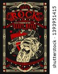 rock music print. bearded man... | Shutterstock .eps vector #1393951415