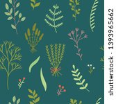 florals and herbs seamless... | Shutterstock .eps vector #1393965662