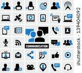 communication   media icons set