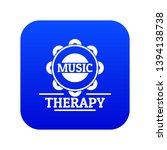 tambourine icon blue vector...