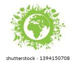 green eco planet earth vector.... | Shutterstock .eps vector #1394150708