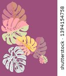 vector tropical pattern with... | Shutterstock .eps vector #1394154758