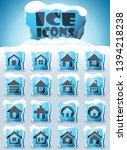 home vector icons frozen in... | Shutterstock .eps vector #1394218238