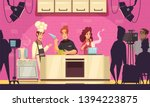 tv cooking show contest cartoon ... | Shutterstock .eps vector #1394223875