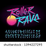 roller rave vintage sign and... | Shutterstock .eps vector #1394227295