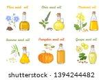 set of vegetable oils in glass... | Shutterstock .eps vector #1394244482
