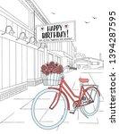 hand drawn birthday card   ink... | Shutterstock .eps vector #1394287595