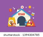 Stock vector cat kitten dog and puppies pet shop illustration with tiny people suitable for animal lover pet 1394304785