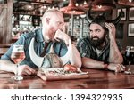 Small photo of Look of verjuice. Two bearded men sitting together in bar, with beer glasses in front of them, and frowning at each other.