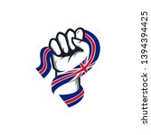 spirit rising fist hand holding ... | Shutterstock .eps vector #1394394425