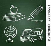 Chalk Drawn Doodle School Set