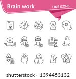 brain work line icon set. human ...