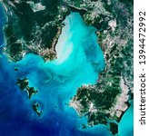 Small photo of High resolution satellite image of Cambodian coast, Koh Rong, Koh Rong Sanloem, Boutum Sakor national park and Sihanoukville from above, aerial view, contains modified Copernicus Sentinel data [2018]