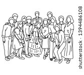 fifteen people standing...   Shutterstock .eps vector #1394486108