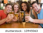 group of young friends in bar...   Shutterstock . vector #13945063