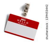 Red And White Plastic Name Tag...