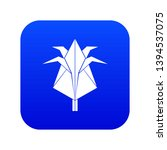 origami flower icon blue vector ...