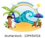 illustration of a boy standing... | Shutterstock .eps vector #139456526