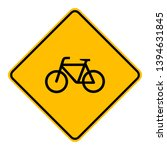 bicycle and road sign on white | Shutterstock .eps vector #1394631845