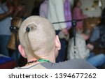 Stock photo hare krishna sikha a shaved head with a ponytail from the crown 1394677262