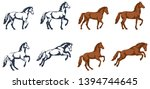 Stock vector vector color illustrations a set of images of a horse figure in different phases of movement and 1394744645