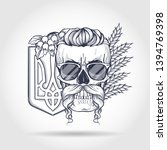 Hand Drawn Sketch  Skull With...