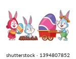 cute easter bunny happy friends ... | Shutterstock .eps vector #1394807852
