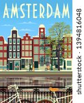 a street in amsterdam with... | Shutterstock .eps vector #1394816048