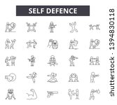 Self Defence Line Icon Signs. ...