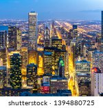 Aerial View Of Chicago Skyline...