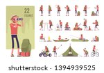 hiking man character set. male... | Shutterstock .eps vector #1394939525