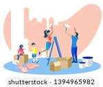 happy family painting walls in... | Shutterstock .eps vector #1394965982