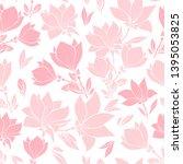 Magnolia Pink Flowers Seamless...