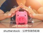 piggy bank coins with saving... | Shutterstock . vector #1395085838