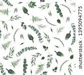 seamless leaves pattern. design ... | Shutterstock . vector #1395094775