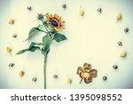 frame made of sunflower and... | Shutterstock . vector #1395098552