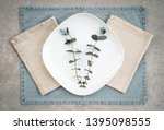 eucalyptus on a white plate and ... | Shutterstock . vector #1395098555