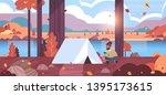 man hiker camper installing... | Shutterstock .eps vector #1395173615