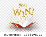 Stock vector win text explosion on red box and gold confetti 1395198722