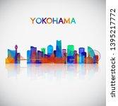 yokohama skyline silhouette in... | Shutterstock .eps vector #1395217772