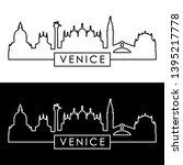 venice city skyline. linear... | Shutterstock .eps vector #1395217778