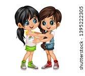 two lovely happy best friends... | Shutterstock .eps vector #1395222305