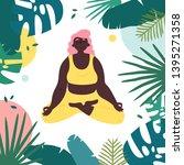 african american woman in lotus ... | Shutterstock .eps vector #1395271358