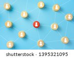 wooden blocks with people icon...   Shutterstock . vector #1395321095